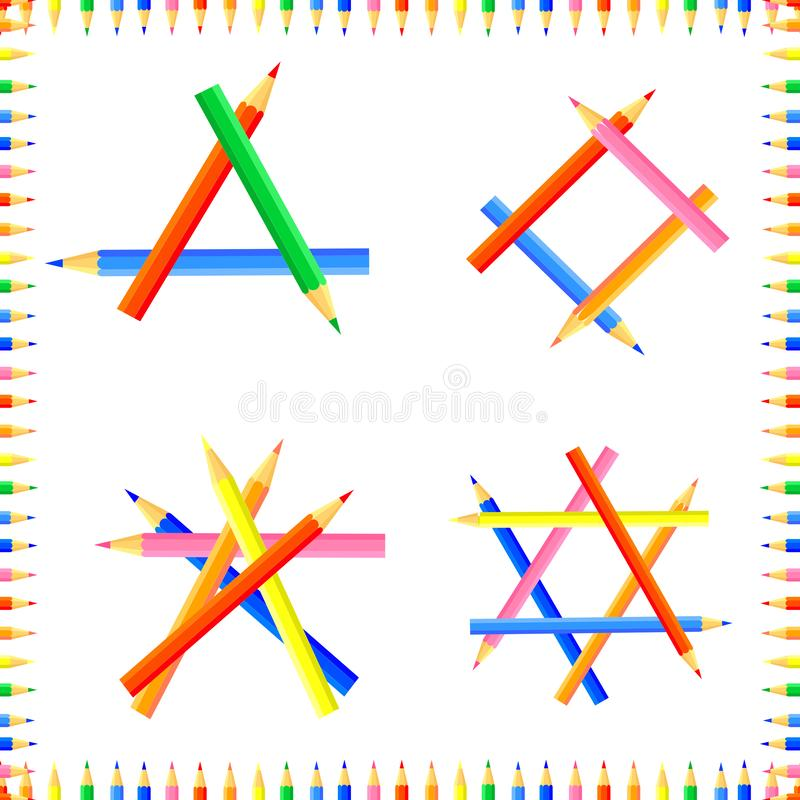 Vector colored seamless pattern. Rows of pointed pencils form a frame. royalty free stock image