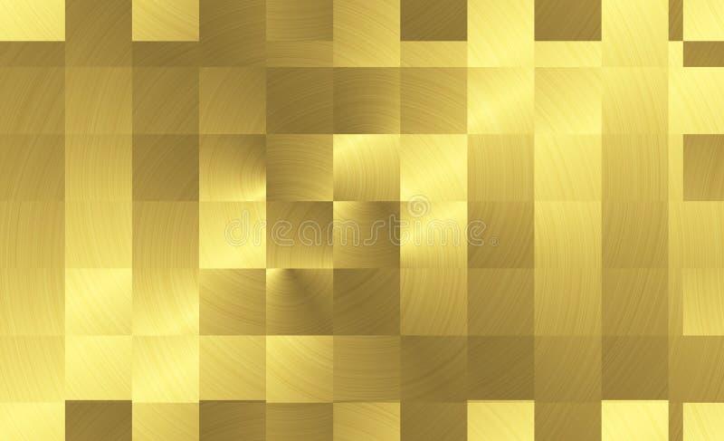 Kwadratów talerze szczotkowali złotą metal powierzchnię Tekstura metal złoto tła abstrakcyjne ilustracja wektor