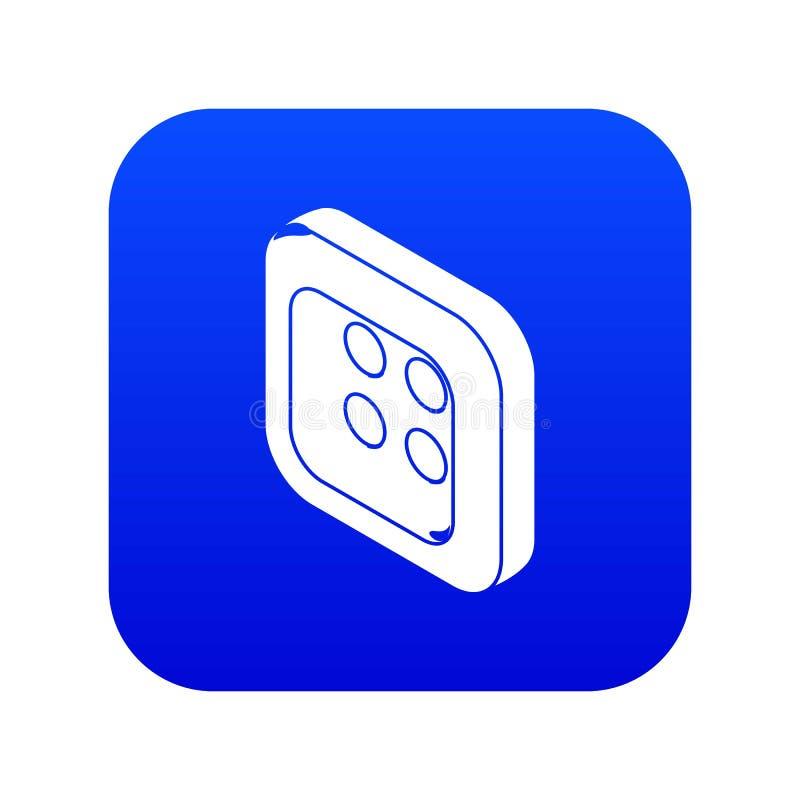 Kwadratów ubrań guzika ikony błękita wektor royalty ilustracja