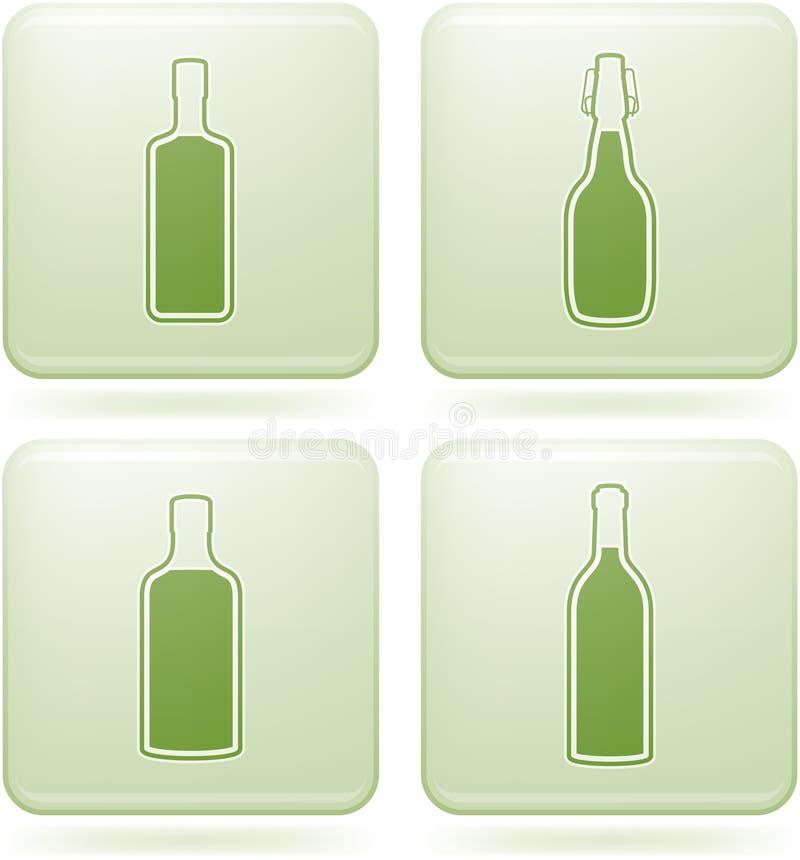kwadrat alkohol butelkuje ikon olivine ustalonego kwadrat royalty ilustracja