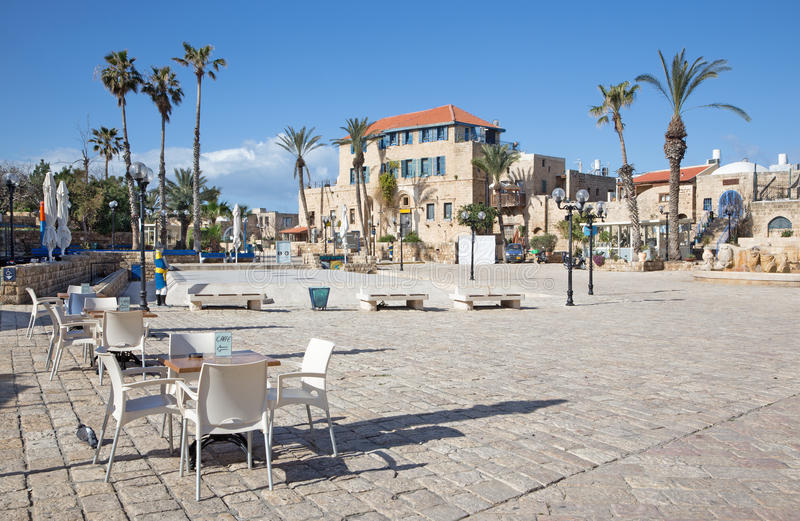Kwadrat h w starym Jaffa w Tel Aviv (Kikar Kdumim ulica) zdjęcie stock