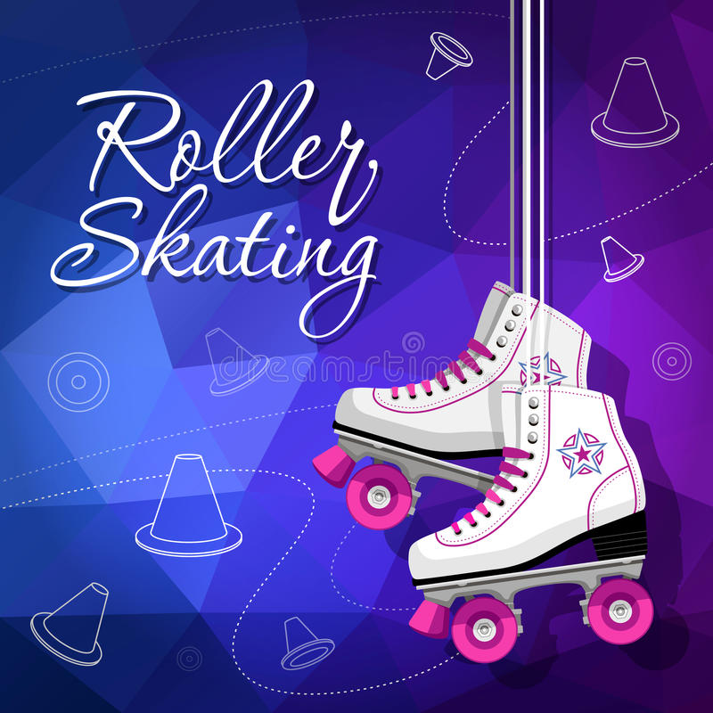 Kwadrat jeździć na łyżwach klasyka Rolkowe łyżwy wiesza na koronkach Sporta tło również zwrócić corel ilustracji wektora ilustracja wektor