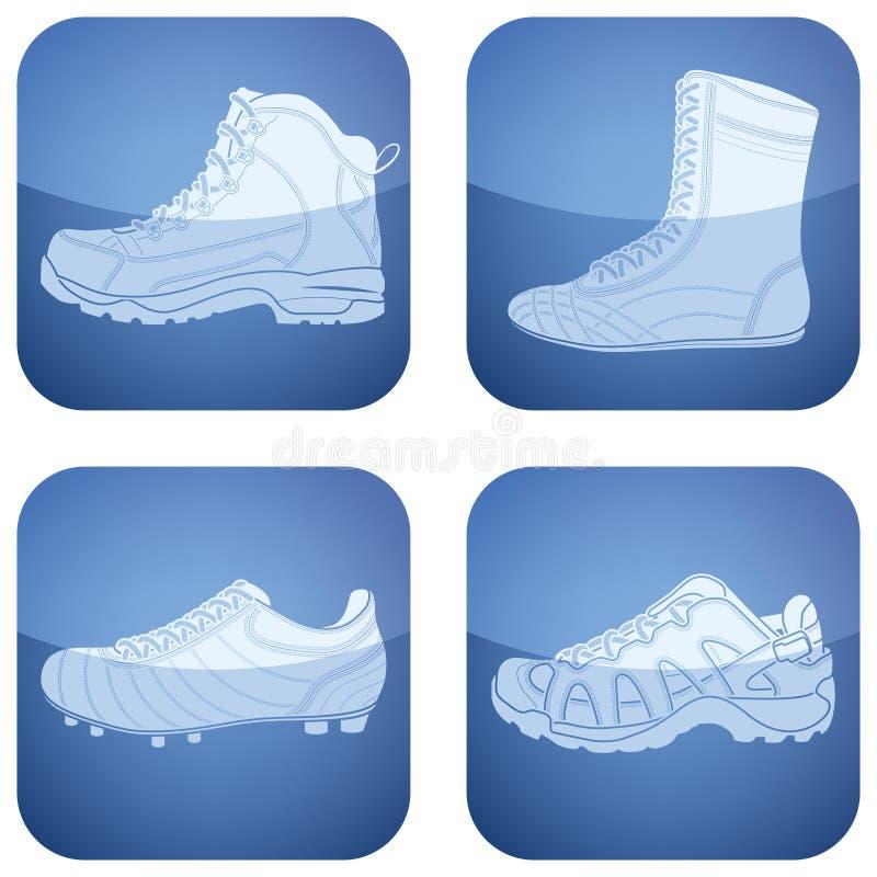 kwadrat kobaltu ikony ustawiający butów sportów kwadrat ilustracja wektor