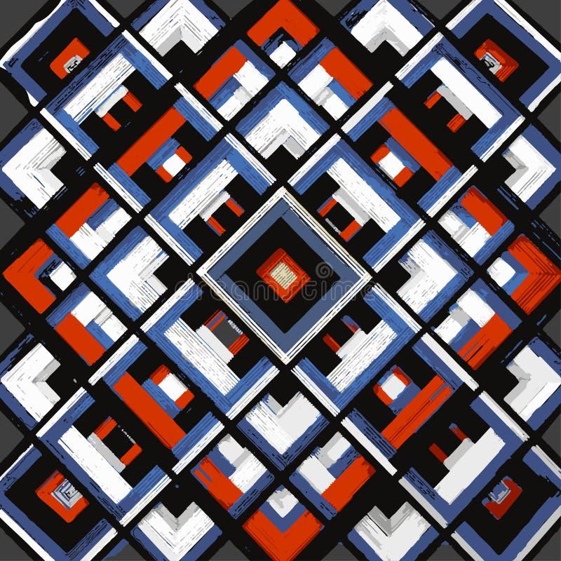 Kwadrat, mandala, ręka rysujący wektoru wzór n ilustracja wektor