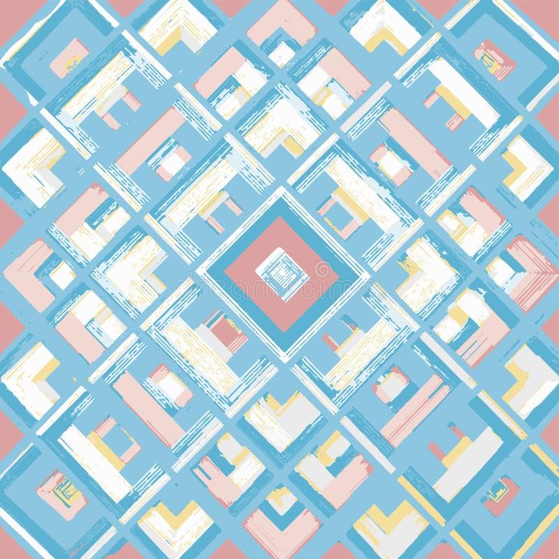 Kwadrat, mandala, ręka rysujący wektoru wzór n ilustracji