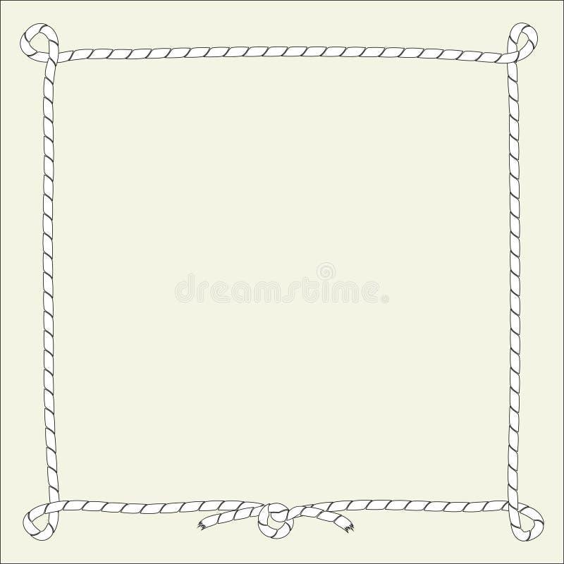 Kwadrat odizolowywał ramę od dennej arkany, sznur Wektorowy ilustracyjny czarny i biały royalty ilustracja