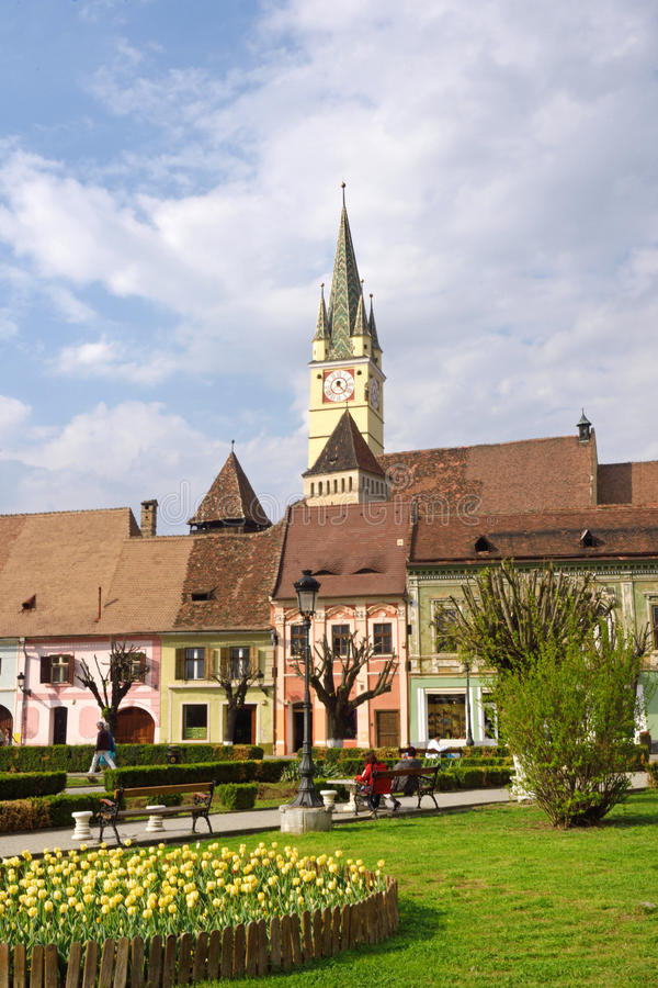 Kwadrat Rigele Ferdinand w Medias, Transylvania zdjęcie royalty free