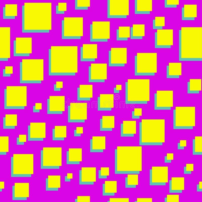 Kwadrata abstrakta 80s wektoru menchii bezszwowy wzór royalty ilustracja