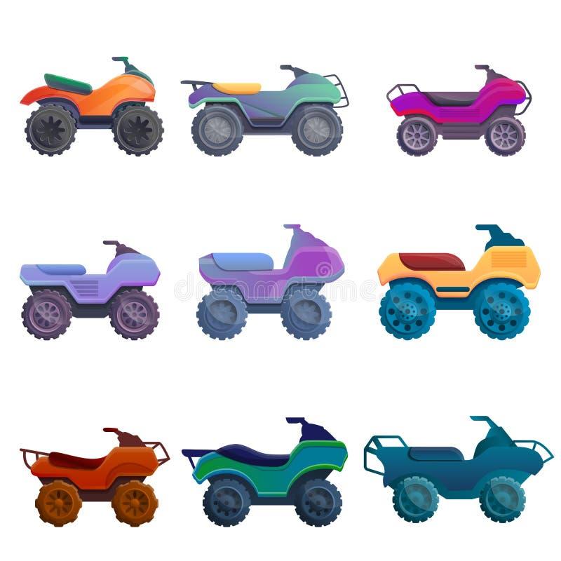 Kwadrata roweru ikony ustawiać, kreskówka styl ilustracji
