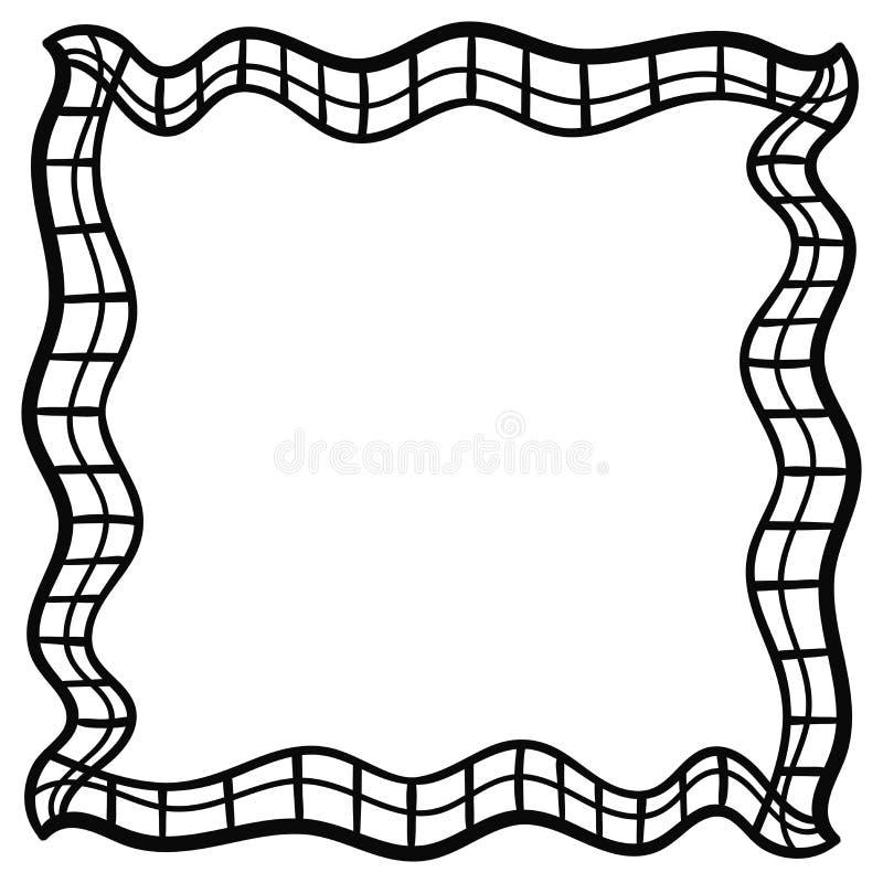 Kwadratowa abstrakcjonistyczna doodle rama checkered ilustracja wektor