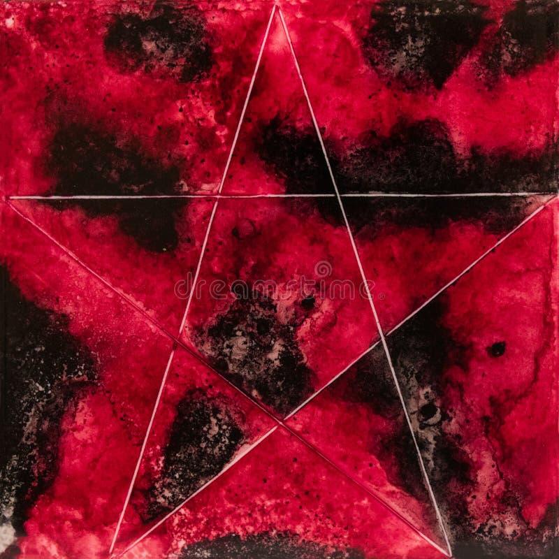 Kwadratowa akwarela z białą gwiazdą na czerwieni i czerni obrazy royalty free