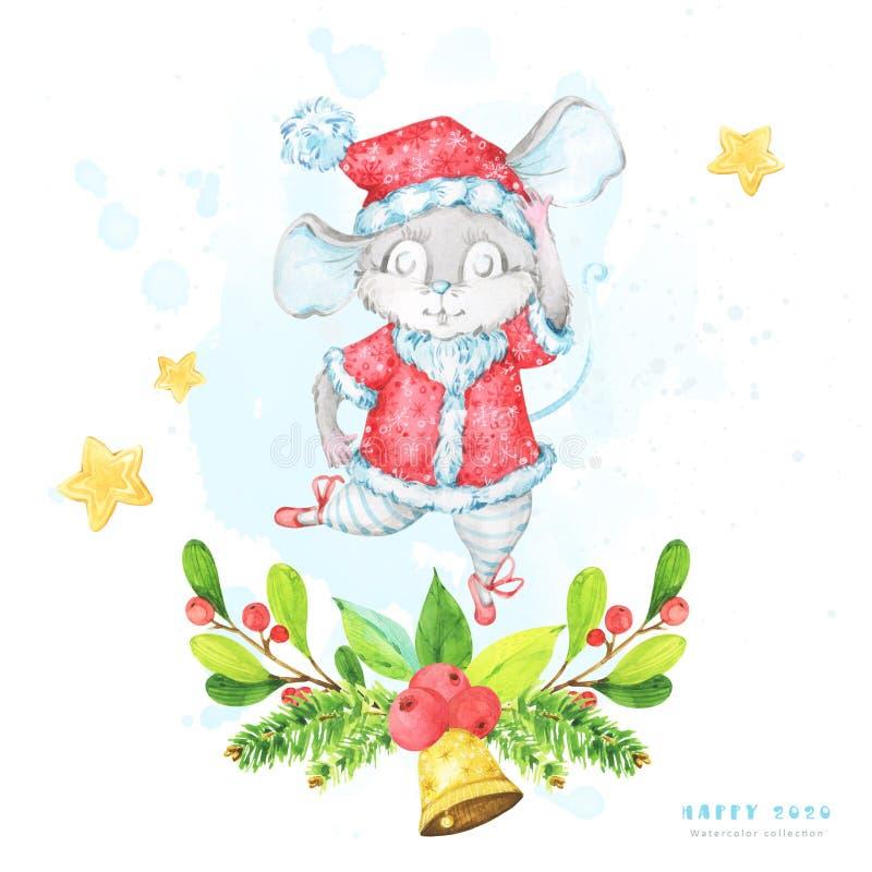 Kwadratowa bożych narodzeń i nowego roku 2020 kartka z pozdrowieniami z akwareli ilustracją śliczny kreskówka szczur, mysz, balet ilustracji