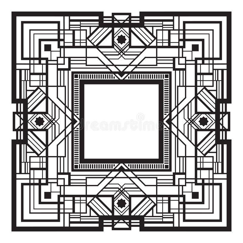 Kwadratowa czarna retro rama ilustracji