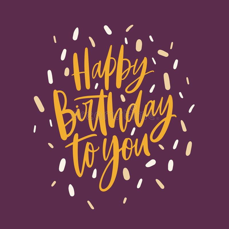 Kwadratowa dzień kartka z pozdrowieniami lub pocztówka szablon z wszystkiego najlepszego z okazji urodzin Wy życzymy ręcznie pisa royalty ilustracja