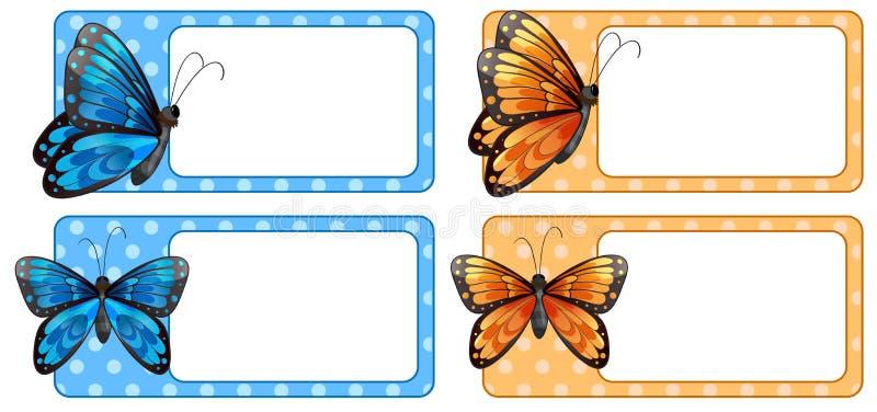 Kwadratowa etykietka z kolorowymi motylami ilustracji