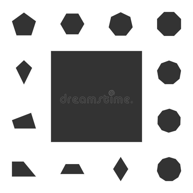 Kwadratowa ikona Szczegółowy set geometryczna postać Premia graficzny projekt Jeden inkasowe ikony dla stron internetowych, sieć  royalty ilustracja