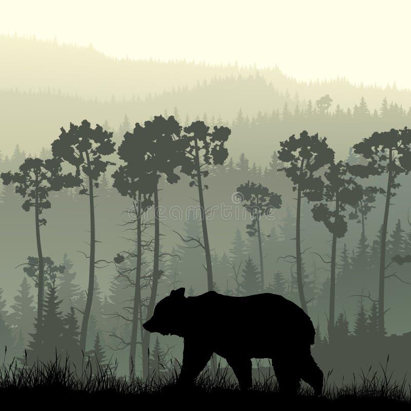 Kwadratowa ilustracja niedźwiedź na trawiastym zboczu royalty ilustracja