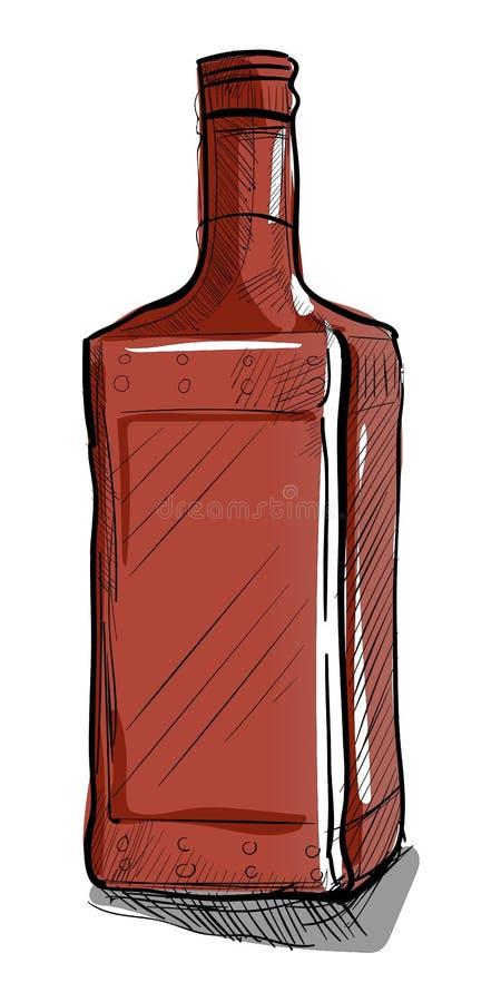 Kwadratowa kształt butelka dla alkoholu royalty ilustracja