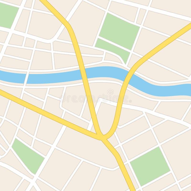 Kwadratowa mapa z rzeką - ulicy i parki royalty ilustracja
