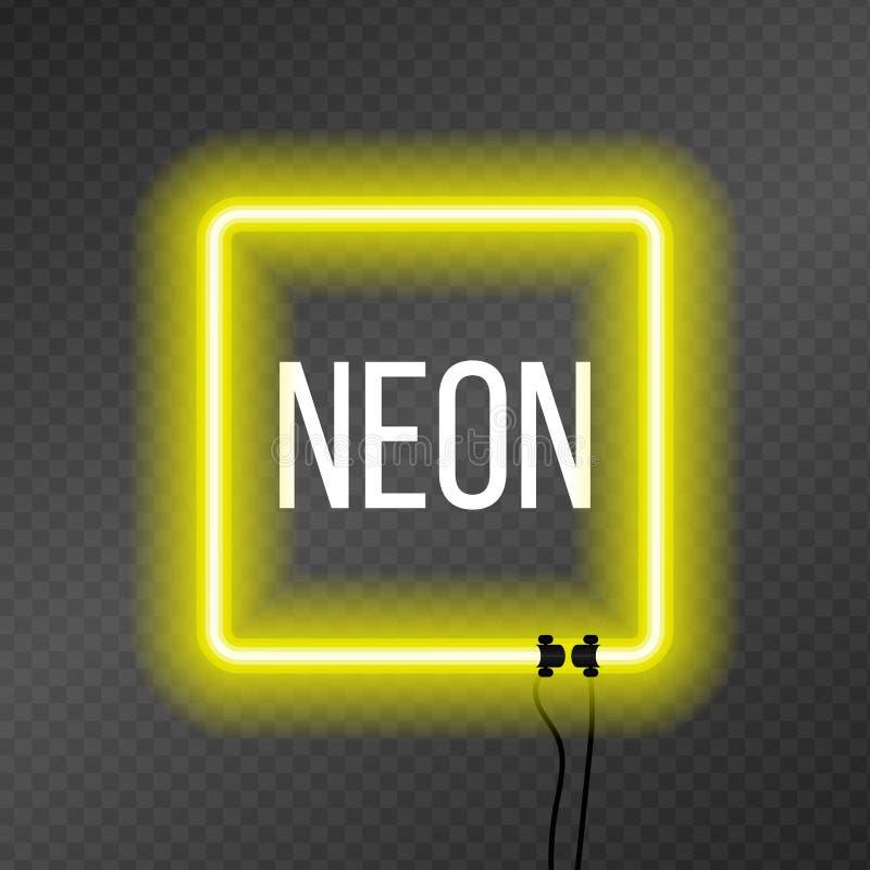 Kwadratowa neonowa rama na przezroczystości tle ilustracja wektor