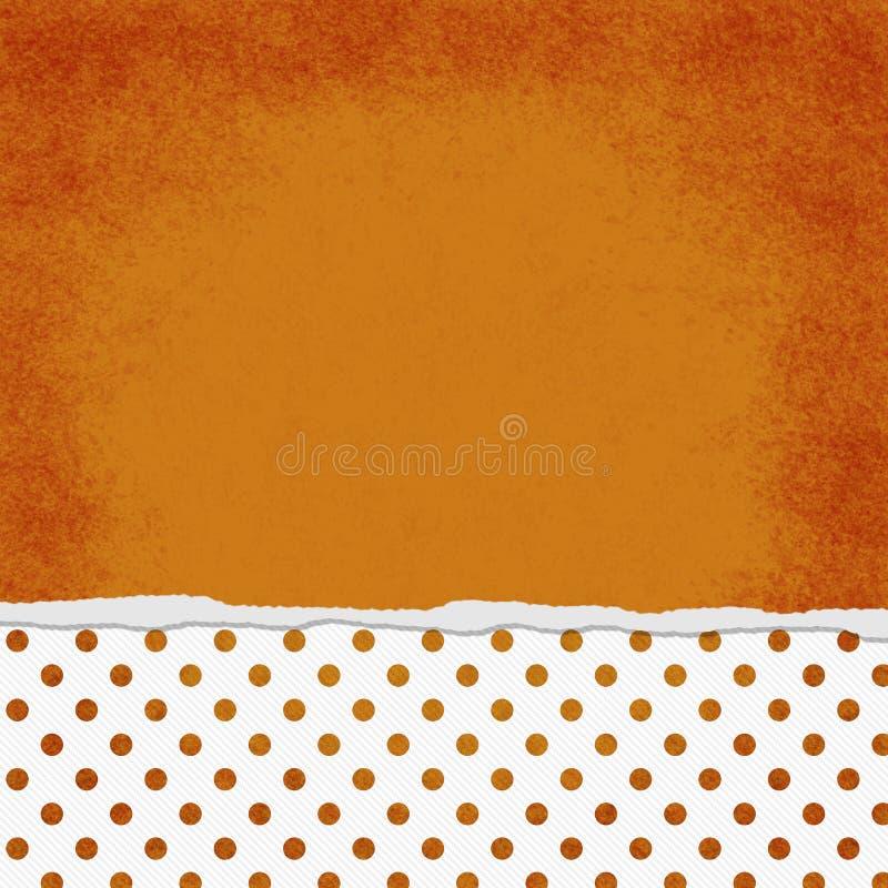 Kwadratowa pomarańcze i bielu polki kropka Drzejący Grunge Textured Backgroun obraz stock