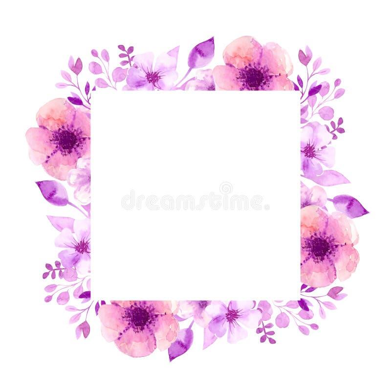 Kwadratowa rama akwarela kwitnie, liście, gałązki Na białym odosobnionym tle Dla ślubnych zaproszeń akwarela ilustracji