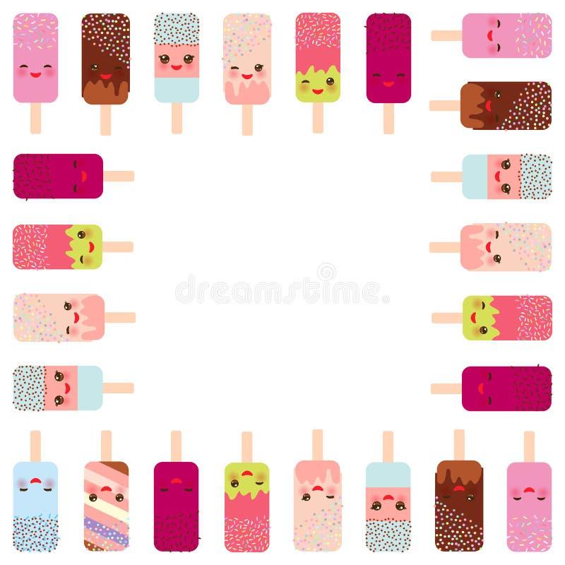 Kwadratowa rama dla teksta lody lodowy lolly Kawaii z różowymi policzkami i mrugać oczy, pastelowi kolory na białym tle wektor royalty ilustracja