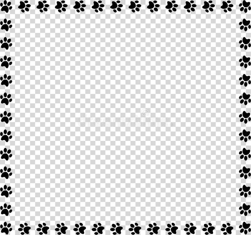 Kwadratowa rama robić czarni zwierzęcy łapa druki na przejrzystym tle ilustracja wektor