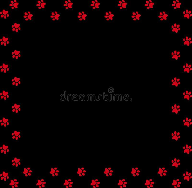 Kwadratowa rama robić czerwoni zwierzęcy łapa druki na czarnym tle ilustracja wektor