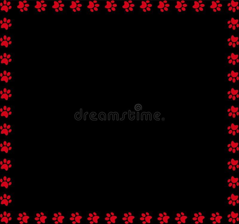 Kwadratowa rama robić czerwoni zwierzęcy łapa druki na czarnym tle royalty ilustracja