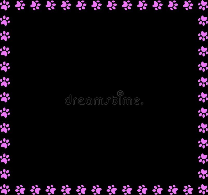 Kwadratowa rama robić różowi zwierzęcy łapa druki na czarnym tle ilustracji