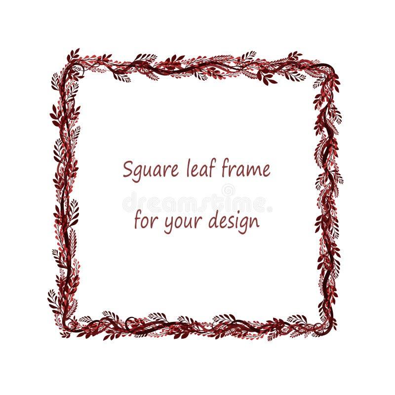 Kwadratowa rama z czarnym, czerwony, różowy, Burgundy rozgałęzia się i opuszcza ilustracji