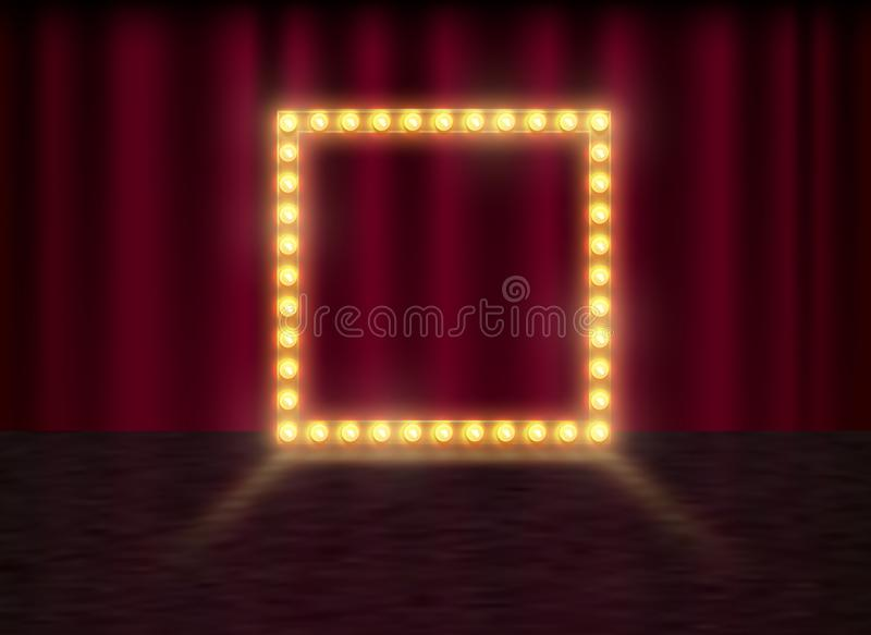 Kwadratowa rama z jarzyć się błyszczące żarówki, wektorowa ilustracja Olśniewający partyjny sztandar na czerwonym zasłony tle, sc ilustracji