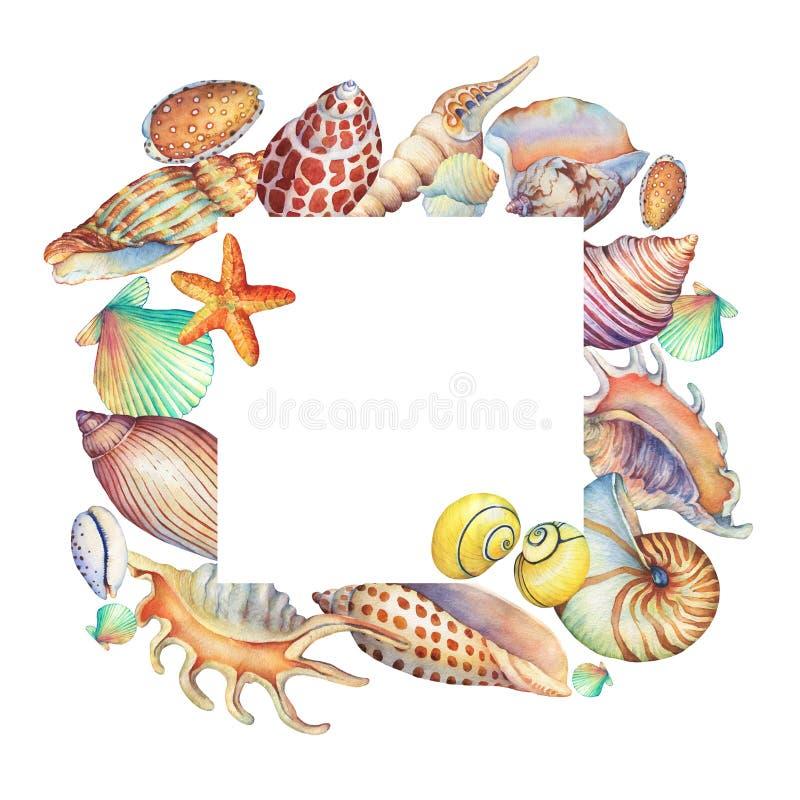 Kwadratowa rama z podwodnymi życie przedmiotami Morski projekt royalty ilustracja