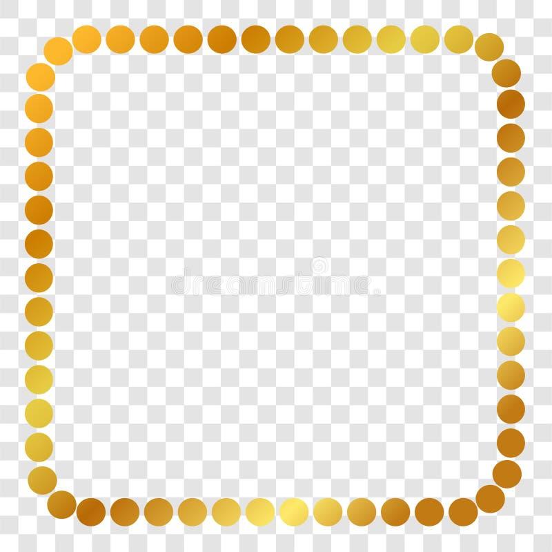Kwadratowa Złota kropki rama dla świadectwa, plakata, tła i inny, przy przejrzystym skutka tłem ilustracja wektor