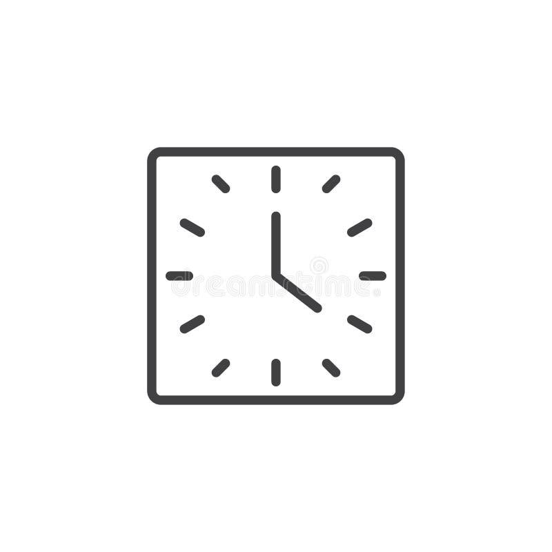 Kwadratowa zegar linii ikona royalty ilustracja