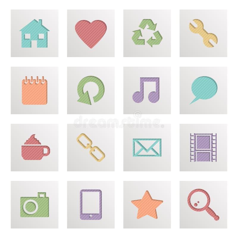 Kwadratowe medialne ikony ilustracji