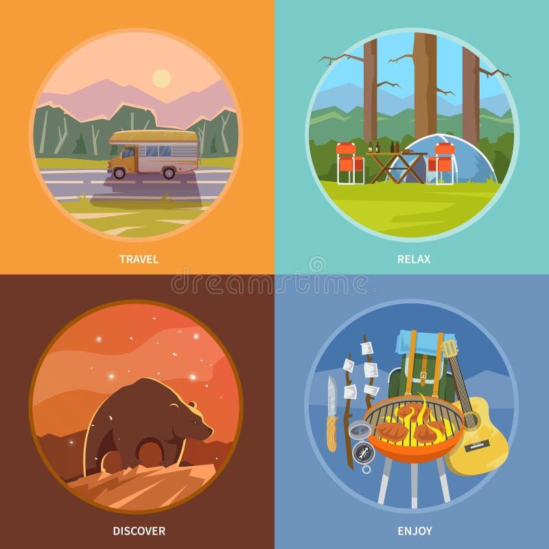 Kwadratowe płaskie wektorowe campingowe ilustracje ilustracji