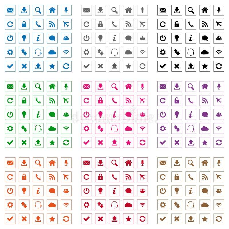 Kwadratowe sieci ikony royalty ilustracja