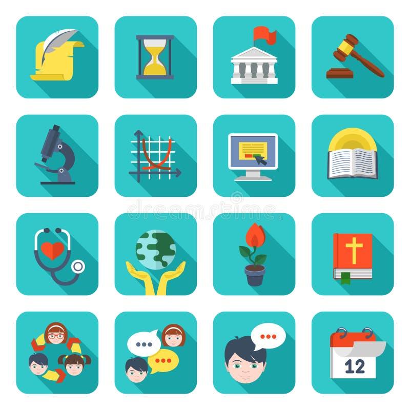 Kwadratowe Szkolne ikony Ustawiać ilustracja wektor