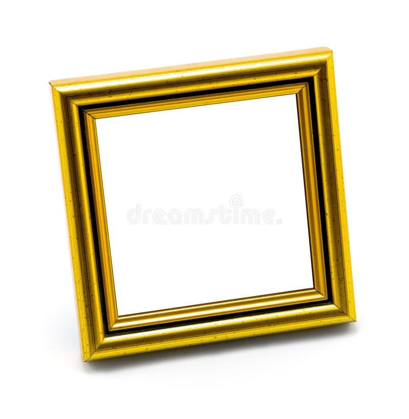 Kwadratowego klasyka fotografii pusta złocista rama odizolowywająca obrazy royalty free
