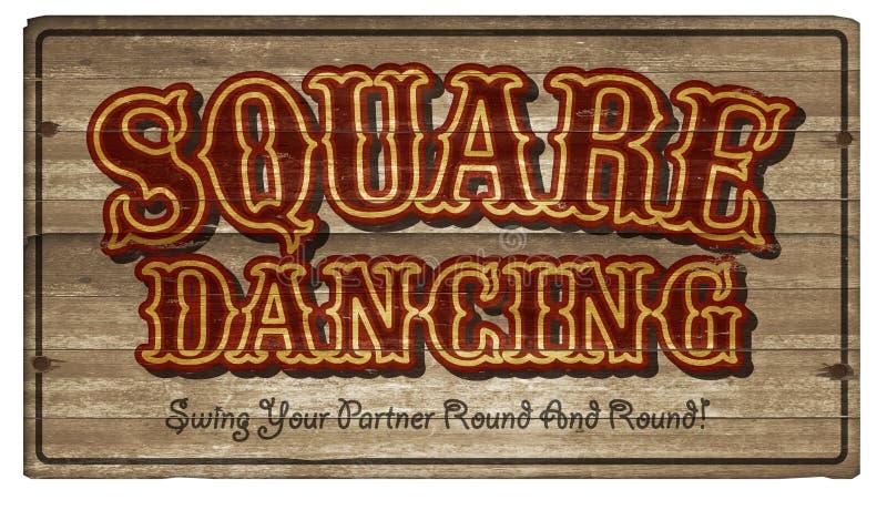 Kwadratowego tana drewna znaka sztuki Dancingowy zawiadomienie fotografia stock