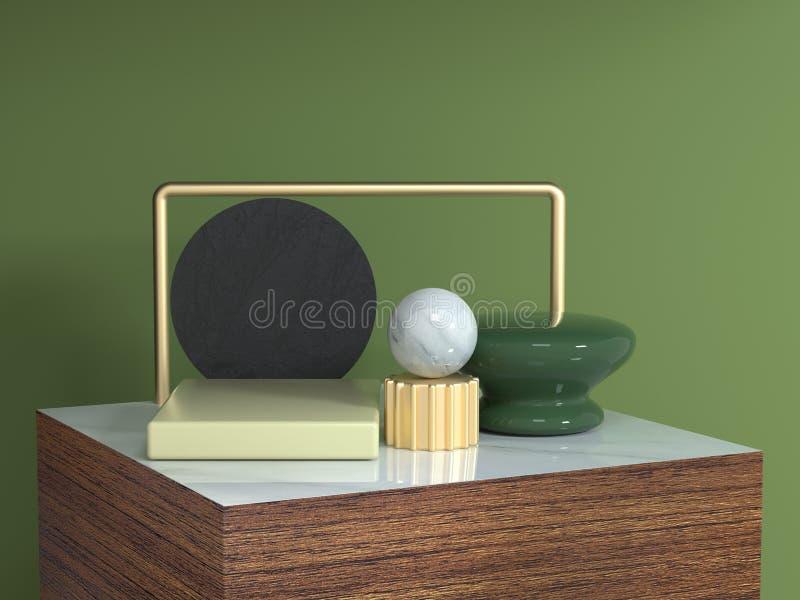 Kwadratowego złoto ramy brązu tekstury kwadrata podium kształta wciąż drewnianego abstrakcjonistycznego geometrycznego życia 3d r ilustracja wektor