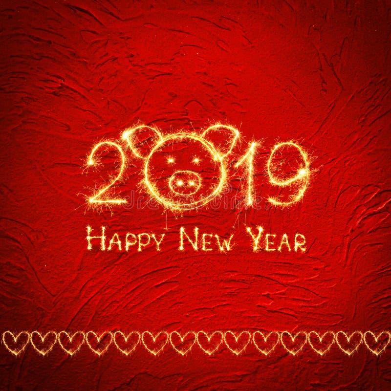 Kwadratowej kreatywnie kartki z pozdrowieniami Szczęśliwy nowy rok 2019 royalty ilustracja