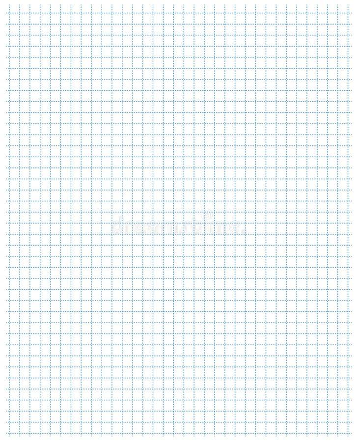 Kwadratowej siatka wzoru błękita szkoły notatnika prześcieradła papieru standardowej sztuki błękitny kolor w kropkowanej linii ilustracji