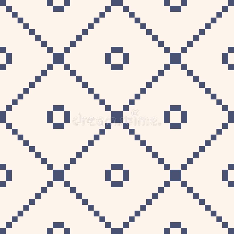Kwadratowej siatki bezszwowy wz?r Prosta wektorowa błękitna i biała geometryczna tekstura royalty ilustracja