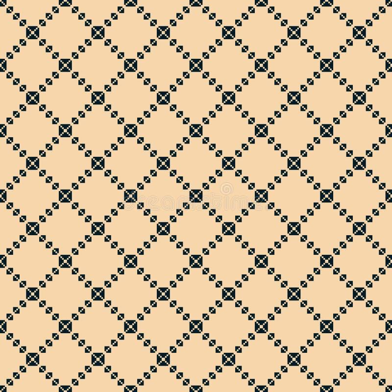 Kwadratowej siatki bezszwowy wz?r Wektorowa abstrakcjonistyczna geometryczna czarna i żółta tekstura ilustracji