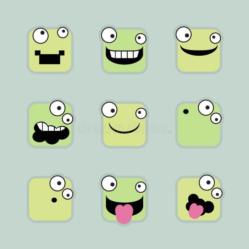 Kwadratowi emoticons royalty ilustracja