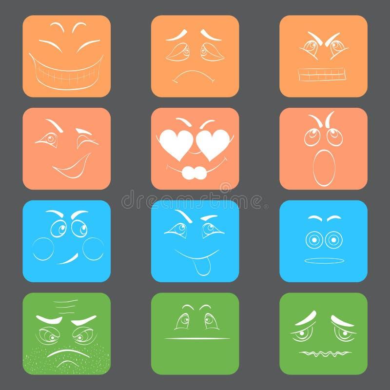 Kwadratowi Emoticons z bielu konturem ilustracja wektor