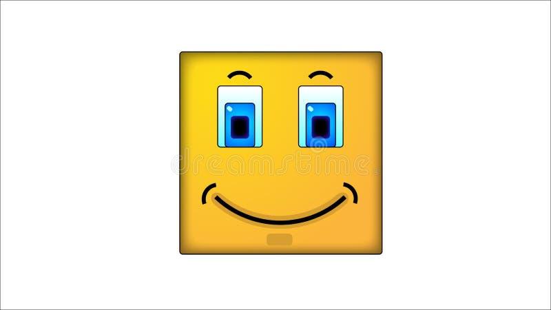 Kwadratowi smilies ilustracja wektor